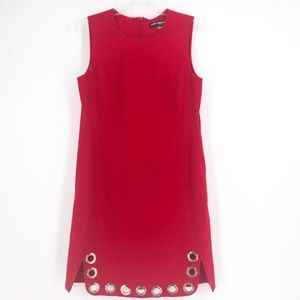 Karl Lagerfeld Red Sheath Dress with Grommets
